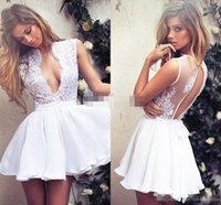 Wholesale White Lace Keyhole Back Short Cocktail Party Dresses Deep V Neck Summer Bohemian Beach Chiffon Bridal Ball Gowns Cheap Under