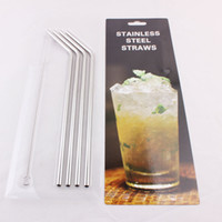 Wholesale 304 Stainless Steel Bend Straight Drinking Straws With Cleaning Brush Set Kits for Yeti Cooler Cup oz YETI Rambler Tumbler Beer Mugs