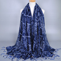 beautiful hijab girls - scarf women s Blue and white floral shawls beautiful muslim wrap hijab long beach pashmina scarves
