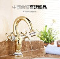 Wholesale New Design Blue and White porcelain copper Hot and Cold Bathroom Taps Washbasin Counter Basin Mixer Faucet