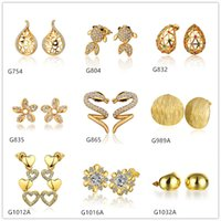 best goldfish - Best gift women s k yellow gold earring pairs a mixed style snake hollow goldfish crystal gemstone yellow gold stud earrings DLG65