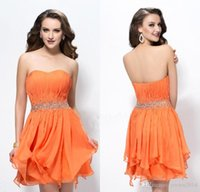 Wholesale Orange Short Prom Dresses Sexy Sweetheart Beaded Pleated Ruffle Zipper Chiffon Backless Evening Gowns Mini Formal Graduation Dress M01