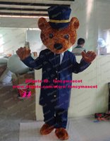 bear shirt military - Courageous Brown Military Army Uniform Teddy Bear Mascot Costume Cartoon Character Mascotte Blue Clothes White Shirt No FS