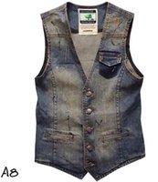 band denim jacket - New Men s denim vest waistcoat band fashion sleeveless jacket mens vest jean clothing