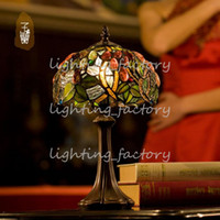 Wholesale Tiffany Table Lamps Luxurious Ancient Garden European Style E14 Bedside Lamps Living Room Decoration