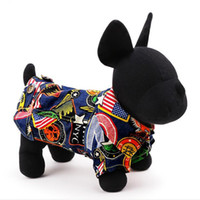 Wholesale 1 Sample New Arrival Pet Dog Clothes Graffiti Retro Dot Dog Jeans Hoodie color Dog Shirt In Spring and Autumn