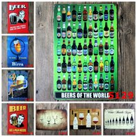 Wholesale Vintage Metal painting quot Beer quot wall painting art wall stickers crafts cafe Restaurant Bar decoration x30 CM