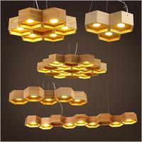 art deco home design - 2016 new design OaK Wooden Honeycomb Modern Creative Handmade Wood LED Hanging Pendant Lamp Lighting Light fixture home decoration
