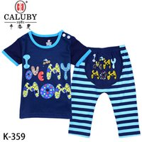 Wholesale 2016 baby letters clothes two piece suit boys girls T shirts shorts clothing sets size M K359