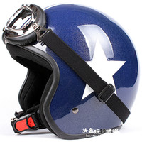 Wholesale TT Taiwan EVO TOP Quality Motorbicycle Casque Open Face Scooter Motorcycle Gloss Blue with White Star Helmet UV Goggles Summer Adult