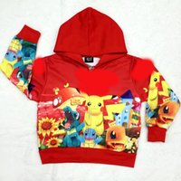 Wholesale New Children poke hoodies kids Long sleeved coat cartoon cotton Pikachu jacket outerwear baby Clothing C1389