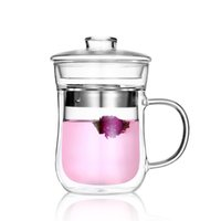 Wholesale 350ml Personal Clear Double Wall Stainless Filter Borosilicate Glass Tea Cup With Lid Handle