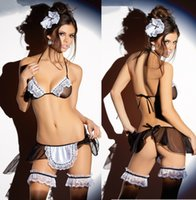 Wholesale Foreign trade in Europe and America custom maid uniforms temptation sexy lingerie transparent gauze three suits maid