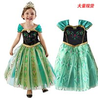 animate line - Retail new girl dress European and American fashion Anna dress princess dress animated cartoon dress