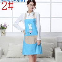 Wholesale Hot Sales New Women Pinafore Aprons Kitchen Restaurant Cooking Cleaning Tool Cute rabbit Bear Pockets Aprons Home Textiles