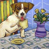 art ceramic tiles - jack russell TERRIER coffee CERAMIC dog art tile Pure Hand Painted folk pop Art Oil Painting quality Canvas any customized size accepted sch