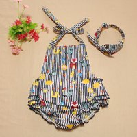 Cheap Cute Infant Baby Kids Fox Print Rompers With Headbands Blue Color Stripes Cute Halter Bow Cotton Clothing
