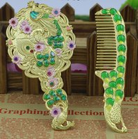 Wholesale 2016 creative peacock mirror and comb wedding and Christmas products home decorative arts and crafts