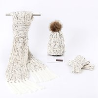 Wholesale Winter Cute Girl Hairball Hat Thicken Plus velvet warm Cap Arrival High Quality Fashion Knitted Scarf Hat Glove Set for Women