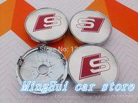 PVC auto chrome covers - high quality alloy mm sline wheel center caps hub cover chrome car badges S LINE Auto accessories