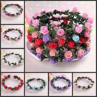 artificial floral garland - Rattan Artificial Berries Flower Headpiece Headband Hairband Head Wreath DIY Floral Bridal Garland Crown Halo Wedding Hair Accessories