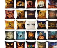 Wholesale Halloween Cushion Happy Halloween Throw Pillow Skull Pumpkin Cat Bat Crow Owl Letter Cushion Sofa Home Decorative Pillows Emji