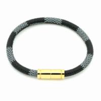 venda por atacado italian bracelet-2015 Hot Venda Nova moda italiana de luxo marca de jóias de aço inoxidável 316L monograma / Damier pulseiras de couro para mulheres ou homens