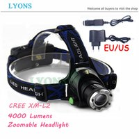 Wholesale Lumens XM L T6 L2 Zoomable Waterproof Headlamp Headlight LED Head lamp outdoor camping Light Flashlight AC Car charger