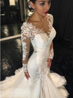 Wholesale Gauze run Neck Long Sleeves Lace Appliques Court quot Train quot Mermaid Wedding Dress custom size can be