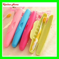 Wholesale Fedex Free Colorful Portable toothbrush box case for travelling Protective Plastic Toothbrush Storage Container Washable toothbrush case