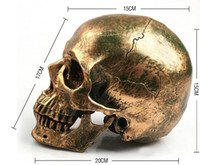 Wholesale New Human Skull Cranium Replica Resin Model Medical Teach Party Bar Prop Gold human skeleton model B182