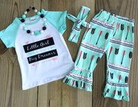 Wholesale NEW Toddler Kids Girls Clothing Set Little girl Big dreams funny letters printed Tops short sleeve T shirt Ruffle Pants hairband Outfit