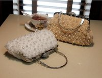 Wholesale Cheap Lace Pearls Beaded Square Bridal Hand Bags Top Sale Floral White Clutch Hand Bags One Shoulder Evening Prom Women Bag