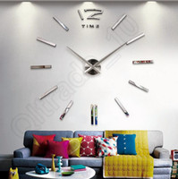 Wholesale 100Lots Analog D Home Decoration Large Wall Clock Modern Design Big Cat Feet Mirror Surface Sticker LLA172