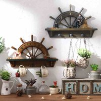antique entrance - Rudder Hook Wall Hook Retro Home Entrance Wall Decoration Shop Cafe Clothing Creative Wooden Rudder Entrance Wall Mural Wall Decoration GJ35