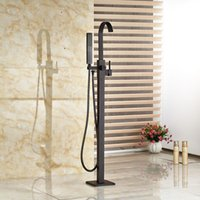 Wholesale Good Quality Brass Single Handle Floor Mount Free Standing Tub Filler Oil Rubbed Bronze Bathtub Mixer Faucet