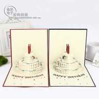 Wholesale The new high quality handmade paper carving card d color cake birthday wishes CARDS fashion holiday greeting card