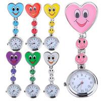 Wholesale 2016 Pieces Popular Women s Cute Smiling Faces Heart Clip On Pendant Nurse Fob Brooch Pocket Watch DHL