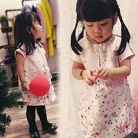 Spring / Autumn Above Knee/Mini 100% Cotton Wholesale Fashion Spring Girl Shirt Knee Length Short Sleeve Butterfly Flower Ornament Children Gift Kids Dress