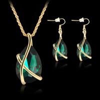 alloy dark blue - Earrings Necklace Jewelry Set Elegant Luxury Women Colors Water Drop Style Rhinestone K Gold Plated Party Jewelry Piece Set JS093