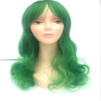 aphrodite women - HOT high quality New Women Wig Aphrodite cm long Curly Wavy Deep Green cosplay wig a wig cap