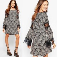 baroque collection - Fashion Autumn New Collection Dress Women Elegant Temperament Baroque Printed Sleeve Dress Lace Stitching Chic And Easy Dress