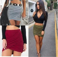 american apparel high waist short - 2016 Hot Sale American Apparel Street Fashion Women Lady High Waist Short Skirt Sexy Bandage Bodycon Cross Fold Pencil Skirts Colors
