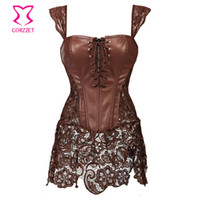 Wholesale Steampunk Brown Lace and Leather Corset Dress Punk Gothic Clothing Sexy Korset Waist Training Corsets Plus Size Lingerie XL
