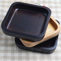 Wholesale Rubber wood Practical snack square plate wooden salad bowl Black Dish Tableware customized home tableware saucer