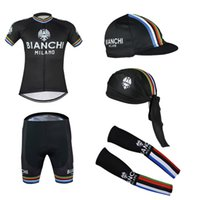 bianchi - 2016 Tour De France Bianchi Cycling Jerseys Black Color With Gloves Arms And Cpas Short Sleeves Size S XL Compressed Bike Wear