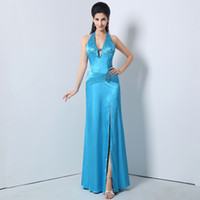 bead art patterns - 2016 Blue Elegant Vintage Sexy Long V Neck Halter Evening Formal Dresses With Beads Sequins Satin Exquisite Women s Party Prom Gowns