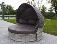 Wholesale Round Bed with Rattan Style Cotton Cushion
