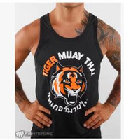 Wholesale Tiger Thai boxing hall vest black vest wicking quick drying polyester stretch knit fabric