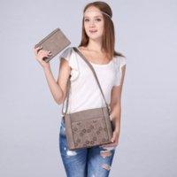 Realer sac à bandoulière vintage marque femmes de petits sacs de crossbody creusent de conception de fleur rabat sac à main + porte-monnaie gris / beige / brun